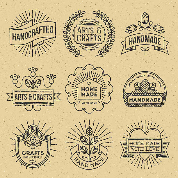 Grunge Hipster Retro Design Insignias Logotypes Set 12. Grunge Hipster Retro Design Insignias Logotypes Set 12. Lo-Fi Vector Vintage Elements. Cardboard Texture. homemade stock illustrations