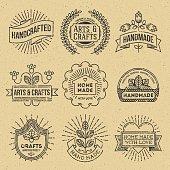 Grunge Hipster Retro Design Insignias Logotypes Set 12.