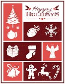 Grunge christmas card with xmas icons. All design elements are layered and grouped. Eps8.