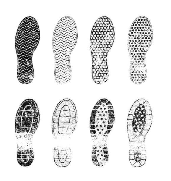 Grunge human shoe print (shoe mark) vector illustration set vector art illustration