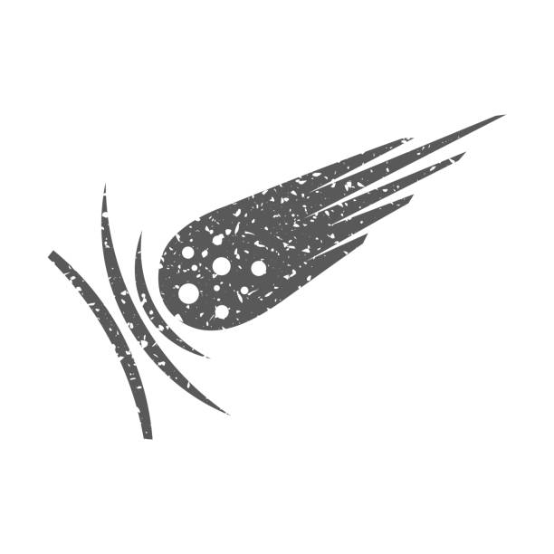 Grunge icon - Comet vector art illustration
