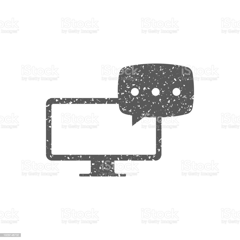 Computer chat icon in grunge texture. Vintage style vector...