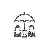 Grunge icon - Family umbrella