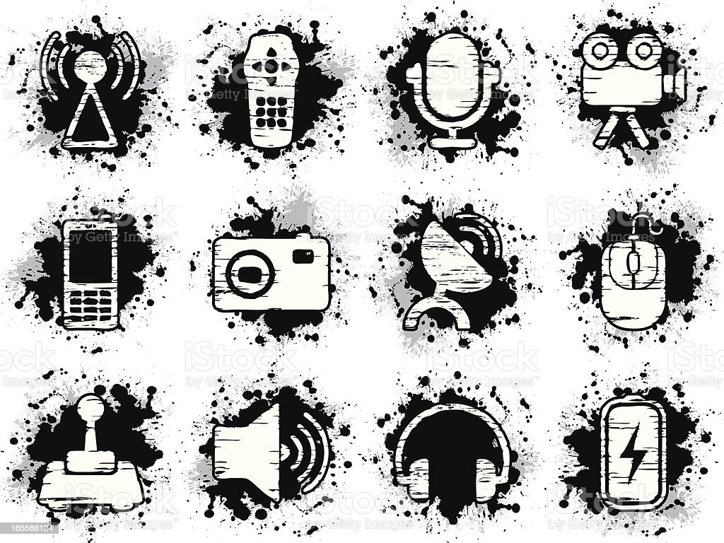 Grunge Camera Vector : Grunge icons equipment stock vector art & more images of antenna
