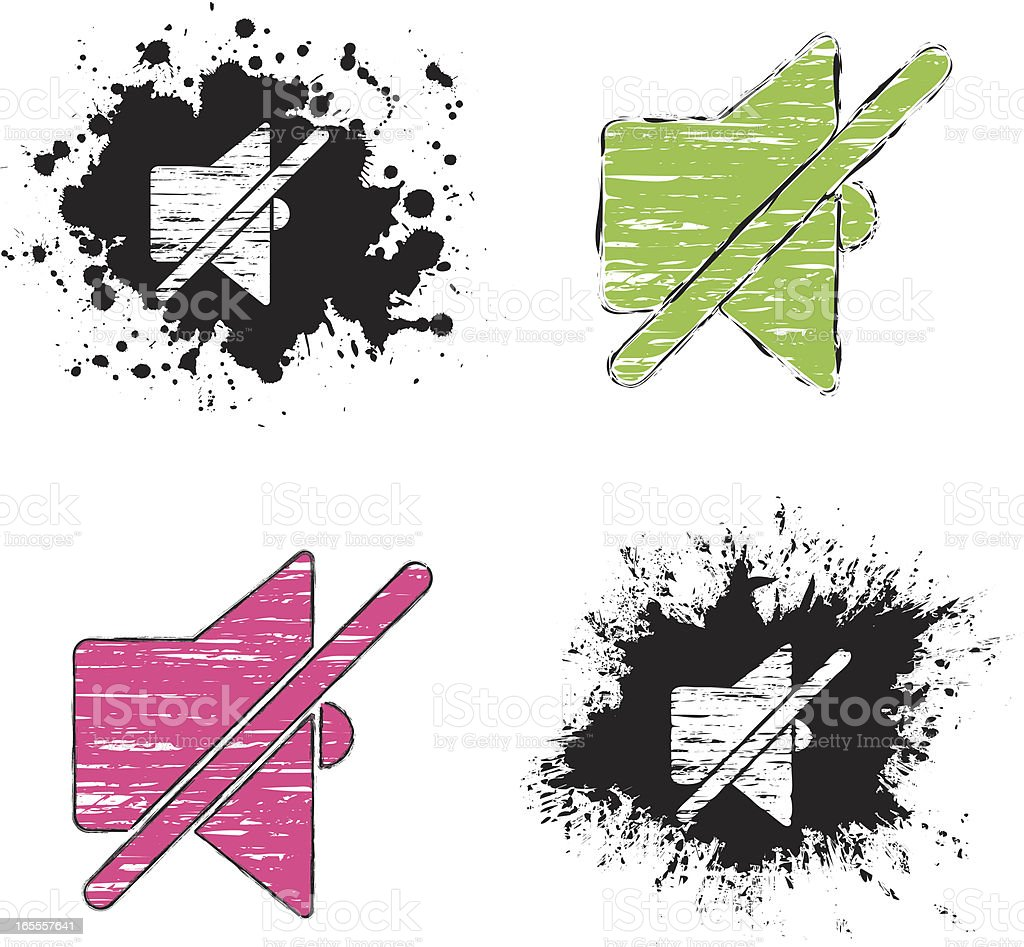 grunge icons - silence royalty-free stock vector art