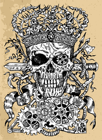 Grunge illustration of scary skull wearing crown, with sword, banner and steampunk wheel and cogs.
