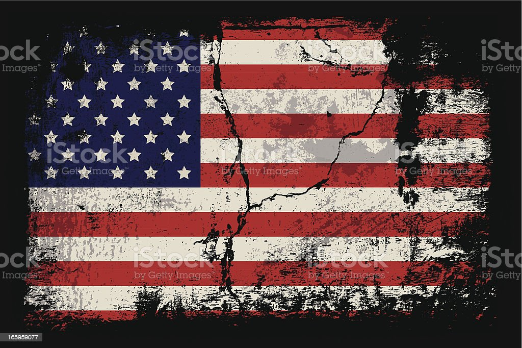 Grunge illustration of the American flag vector art illustration