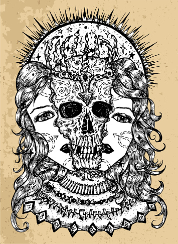 Grunge illustration with halves of woman face and scary skull between them. Mystic background for Halloween, esoteric, gothic, heavy metal or occult concept, tattoo sketch
