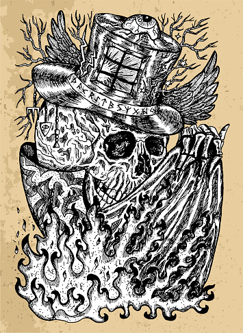 Grunge illustration with skull wearing illusionist, magician or wizard hat with flame on cloak.
