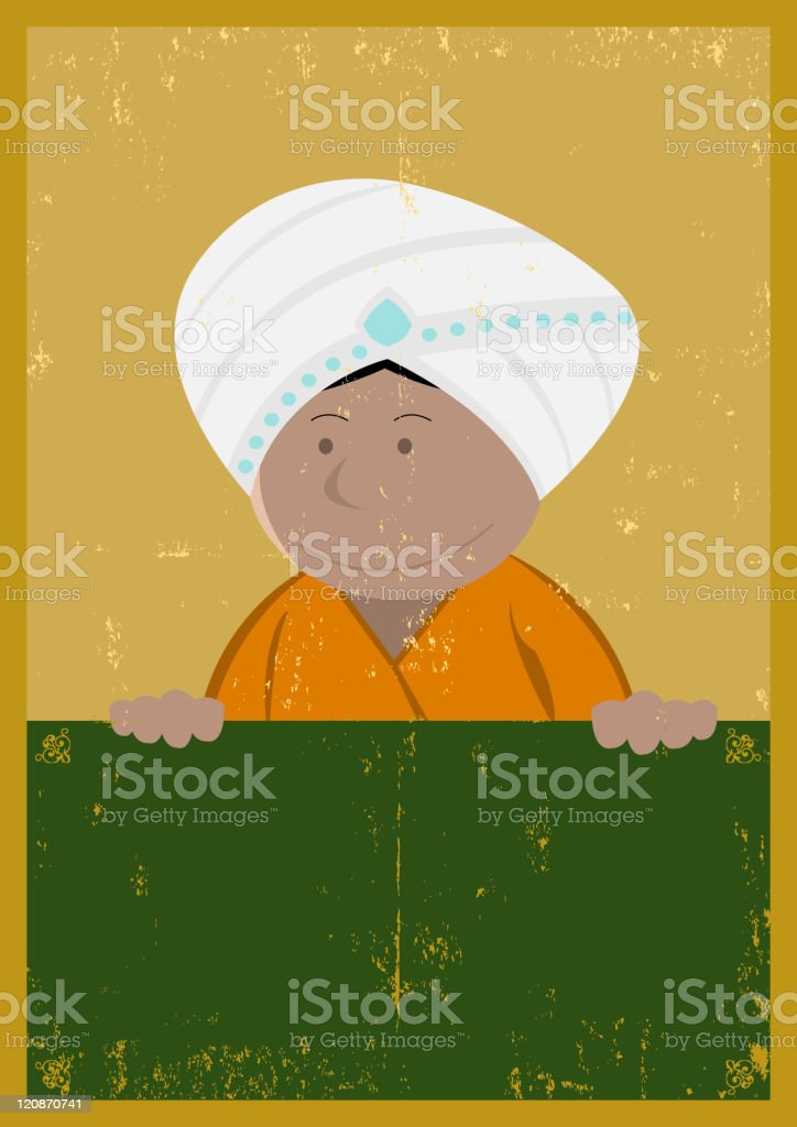 Grunge India Chef Cook Poster royalty-free stock vector art
