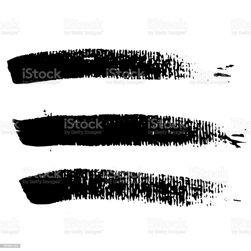 grunge ink brush strokes set freehand black brushes handdrawn dry