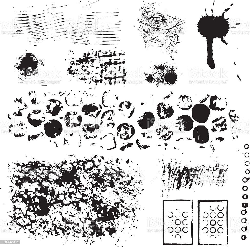 Grunge conjunto de tinta design - ilustração de arte em vetor