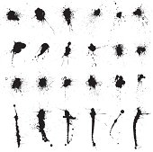 vector set of ink splatters.  Download includes CS3 and EPS 8 files.