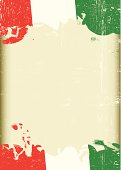 A poster with a large scratched frame and a grunge italian flag for your publicity.