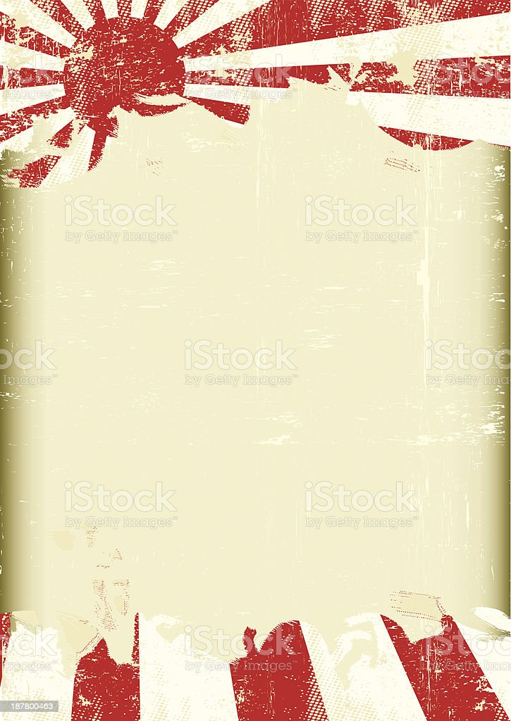 Grunge Japan war flag vector art illustration