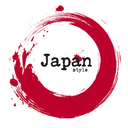 Grunge japanese circle style . Vector