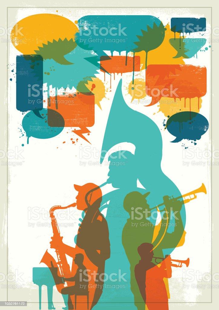 Grunge Jazz band vektör sanat illüstrasyonu