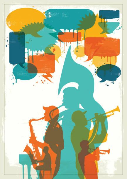Grunge Jazz band vector art illustration