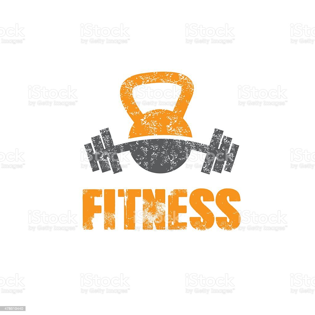 grunge kettlebell and barbell vector design template vector art illustration