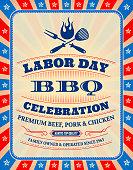 Grunge Labor Day BBQ Party Banner