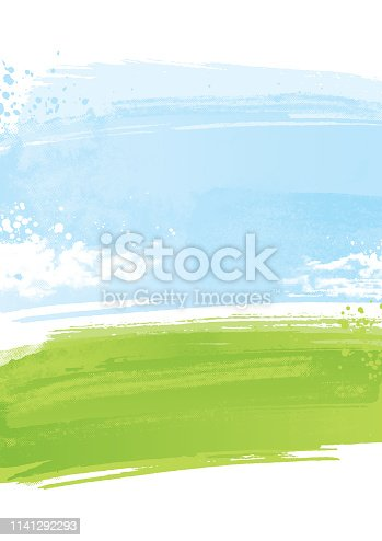 Grunge landscape background made with textured brushstrokes