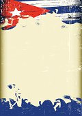 A poster with a large scratched frame and a grunge cuban flag for your publicity.