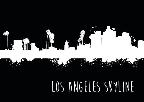 Grunge Los Angeles Skyline - Illustration