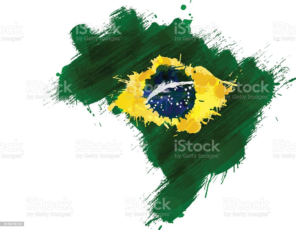 Grunge map of Brazil with Brazilian flag vector art illustration