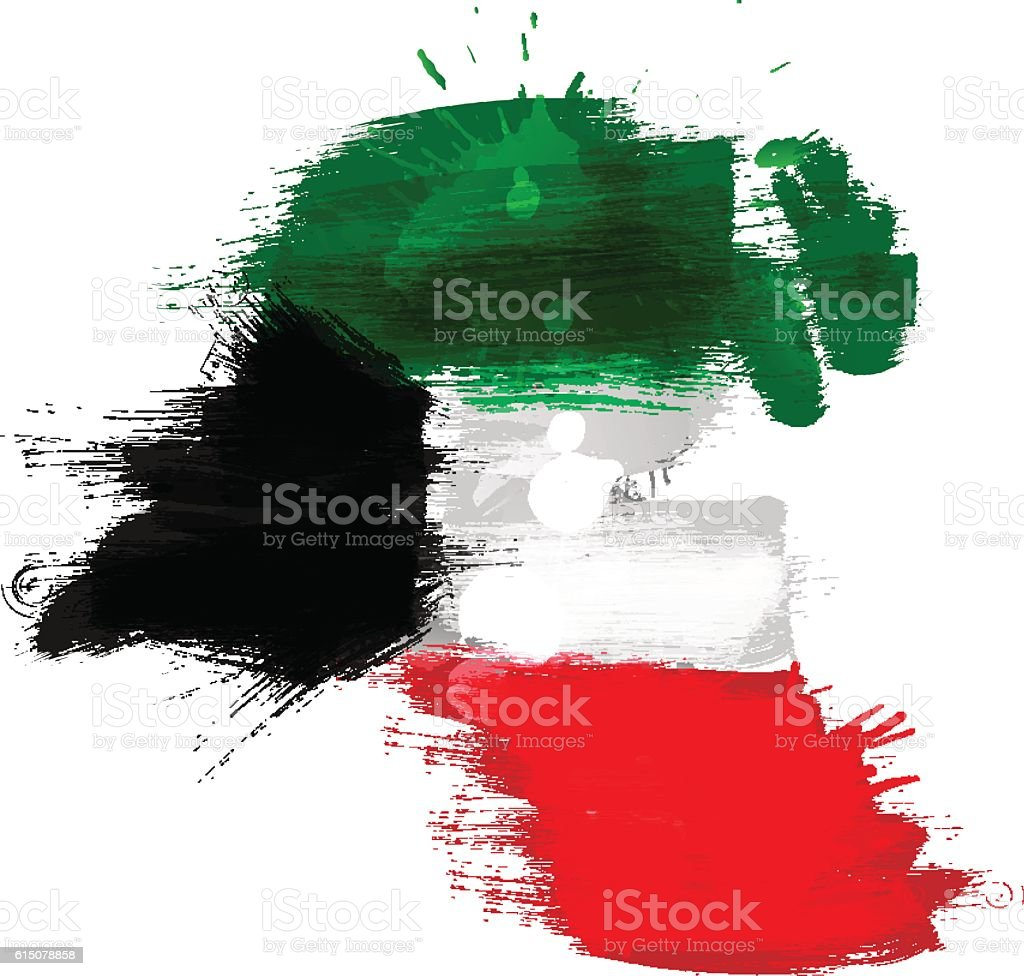 Grunge map of Kuwait with flag vector art illustration
