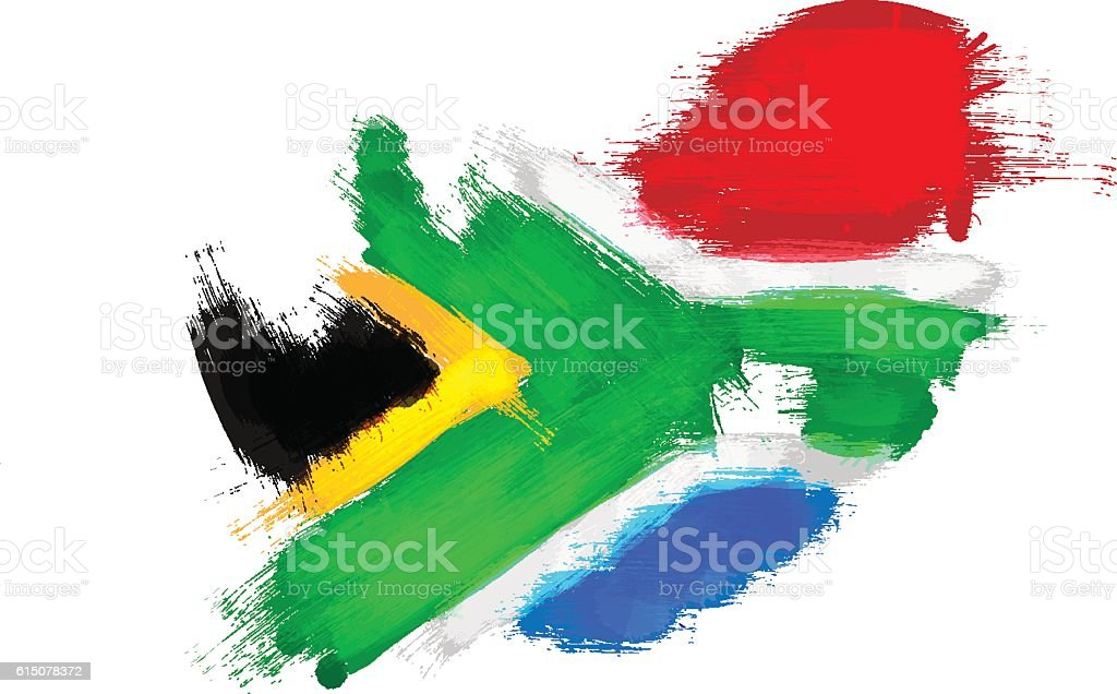Grunge map of South Africa with South African flag vector art illustration
