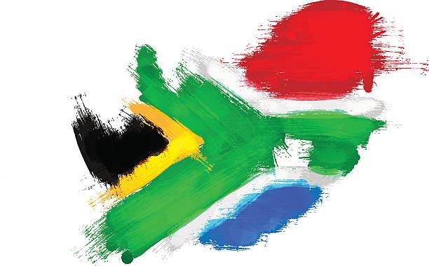 bildbanksillustrationer, clip art samt tecknat material och ikoner med grunge map of south africa with south african flag - south africa