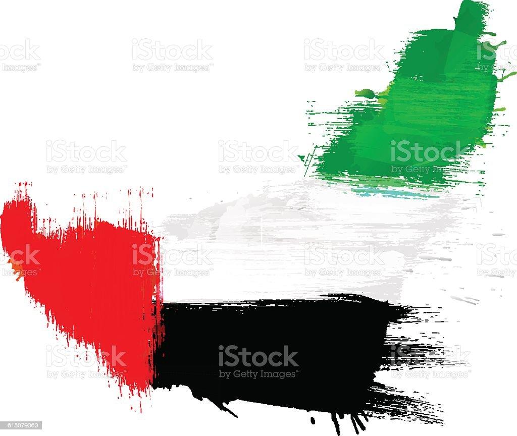 Grunge map of United Arab Emirates with UAE flag vector art illustration