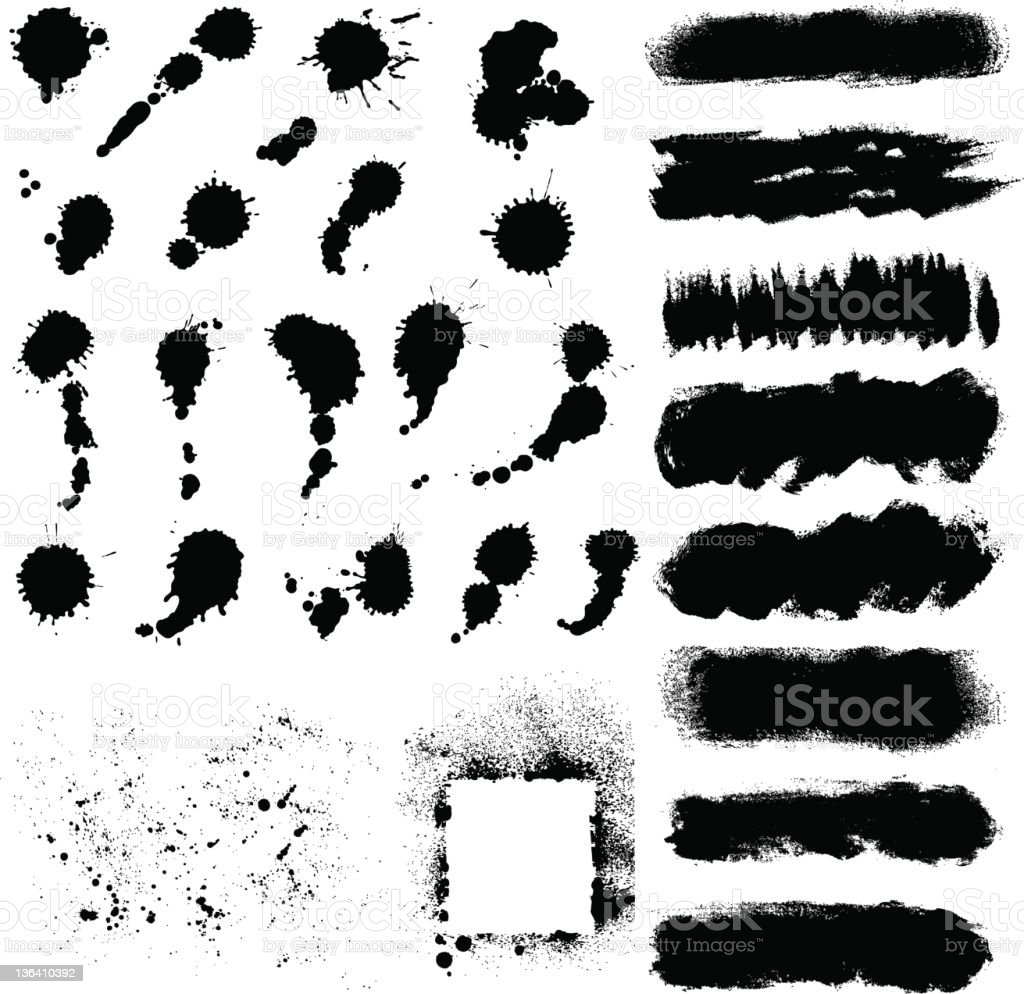 Grunge material set compiled on a white background vector art illustration