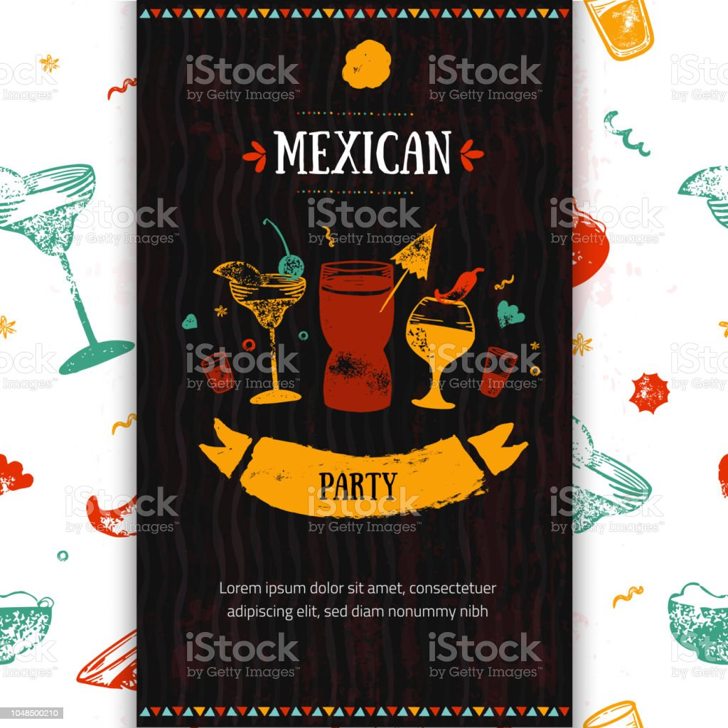 Grunge Mexican Party Food Restaurant Menu Template Design With