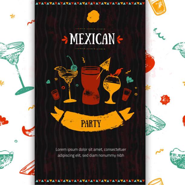 grunge mexican party food restaurant menü, template-design mit skizze ikonen der chili-schote, sombrero, tacos, nacho, burrito. tafel essen flyer für promotion, website-banner - mexikanisches essen stock-grafiken, -clipart, -cartoons und -symbole