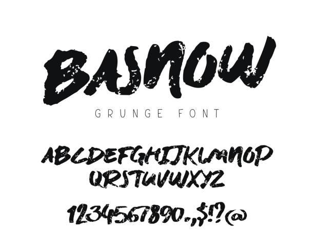 ilustraciones, imágenes clip art, dibujos animados e iconos de stock de fuente de modernos vectores grunge - tipos de letra y tipografía