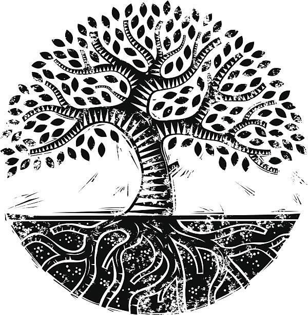 Grunge mono woodcut tree vector art illustration