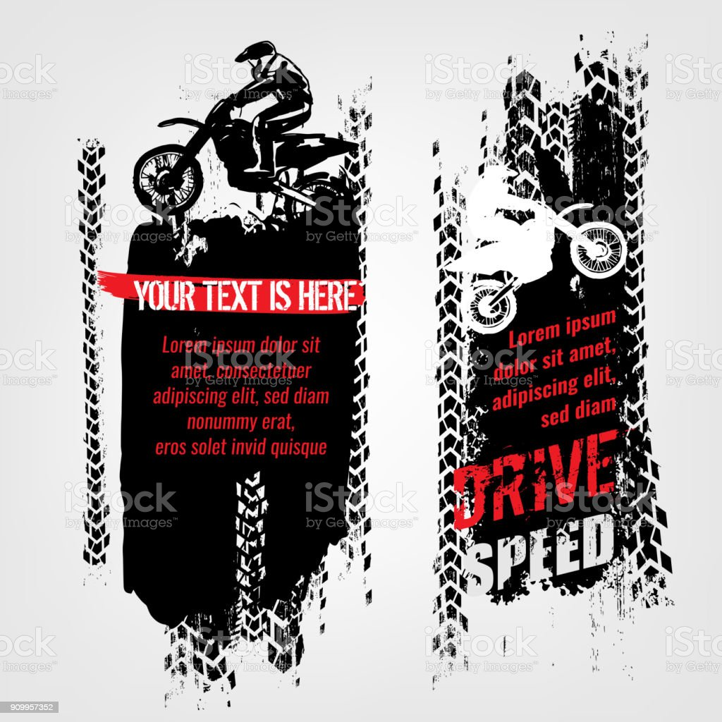 Grunge motorcross banners vector art illustration