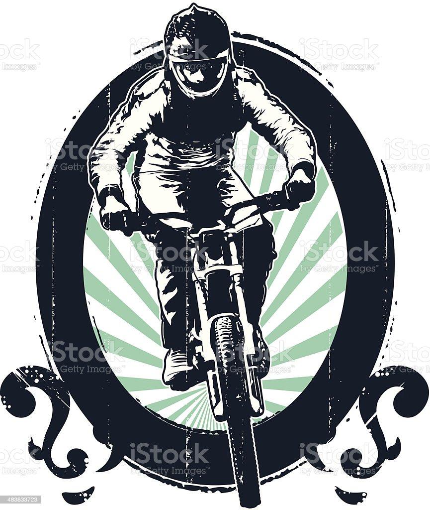 grunge mountain bike shield with rider vector art illustration