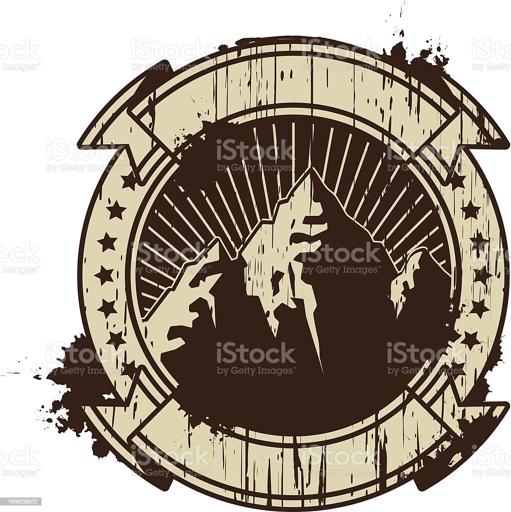 grunge mountain insignia royalty-free stock vector art