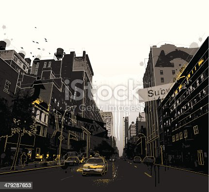 Grunge illustration of a New York City street.