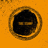 Grunge off-road post and quality stamp. Automotive element useful for banner, sign, logo, icon, label and badge design . Tire tracks textured vector illustration.