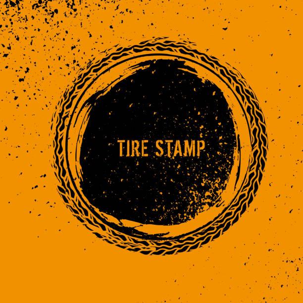 illustrazioni stock, clip art, cartoni animati e icone di tendenza di grunge off road element - transport truck tyres