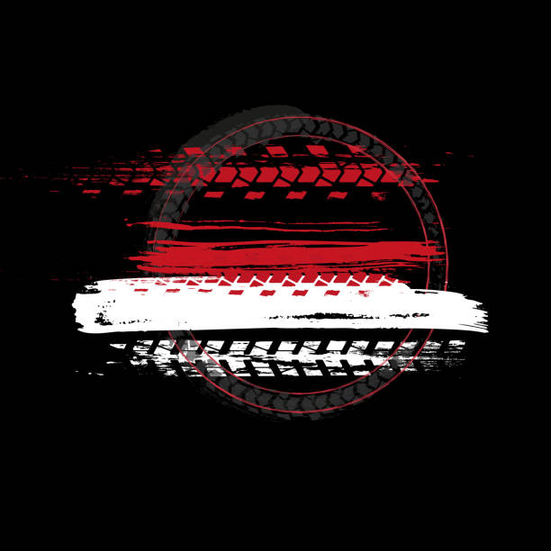 bildbanksillustrationer, clip art samt tecknat material och ikoner med grunge off-road däck stämpel - wheel black background