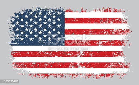 Vector illustration of grunge old distressed American flag isolated on grey background