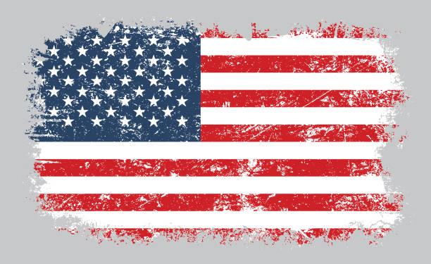ilustrações, clipart, desenhos animados e ícones de ilustração velha do vetor da bandeira americana de grunge - exposto ao tempo