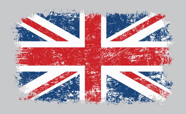 그런지 늙은 영국 국기 벡터 일러스트 - 영국 국기 stock illustrations
