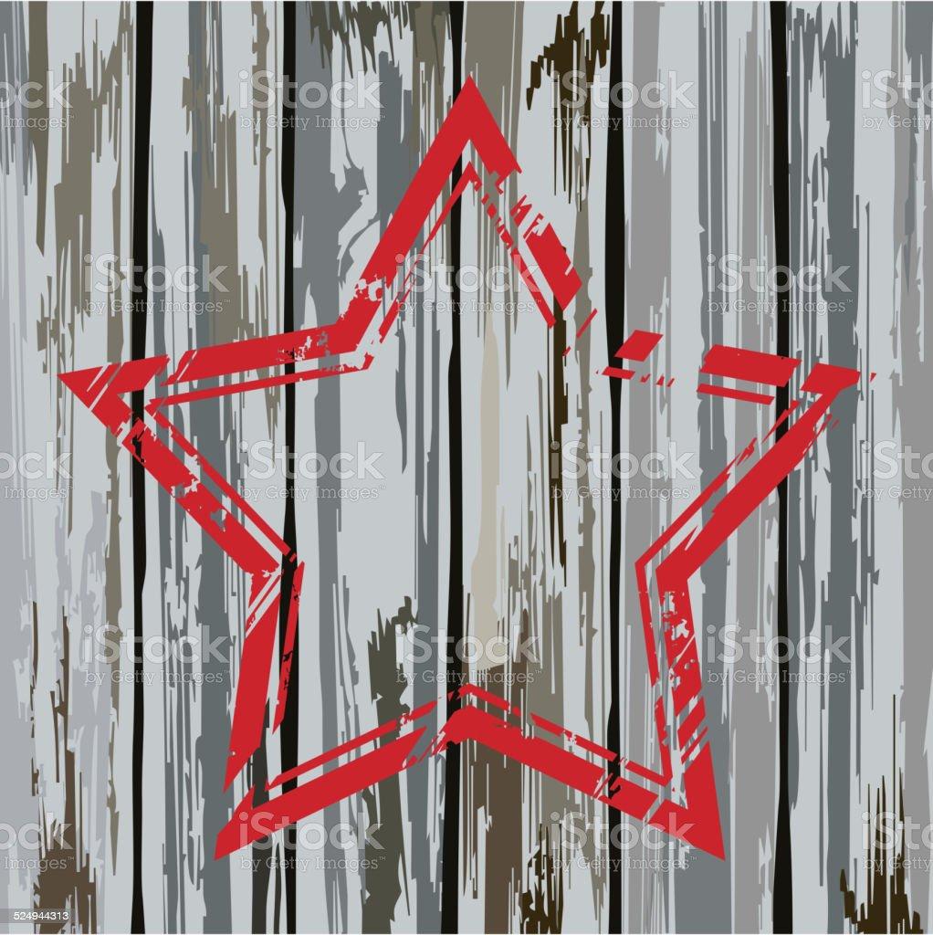 Grunge old wooden fence star frame. Vector vector art illustration