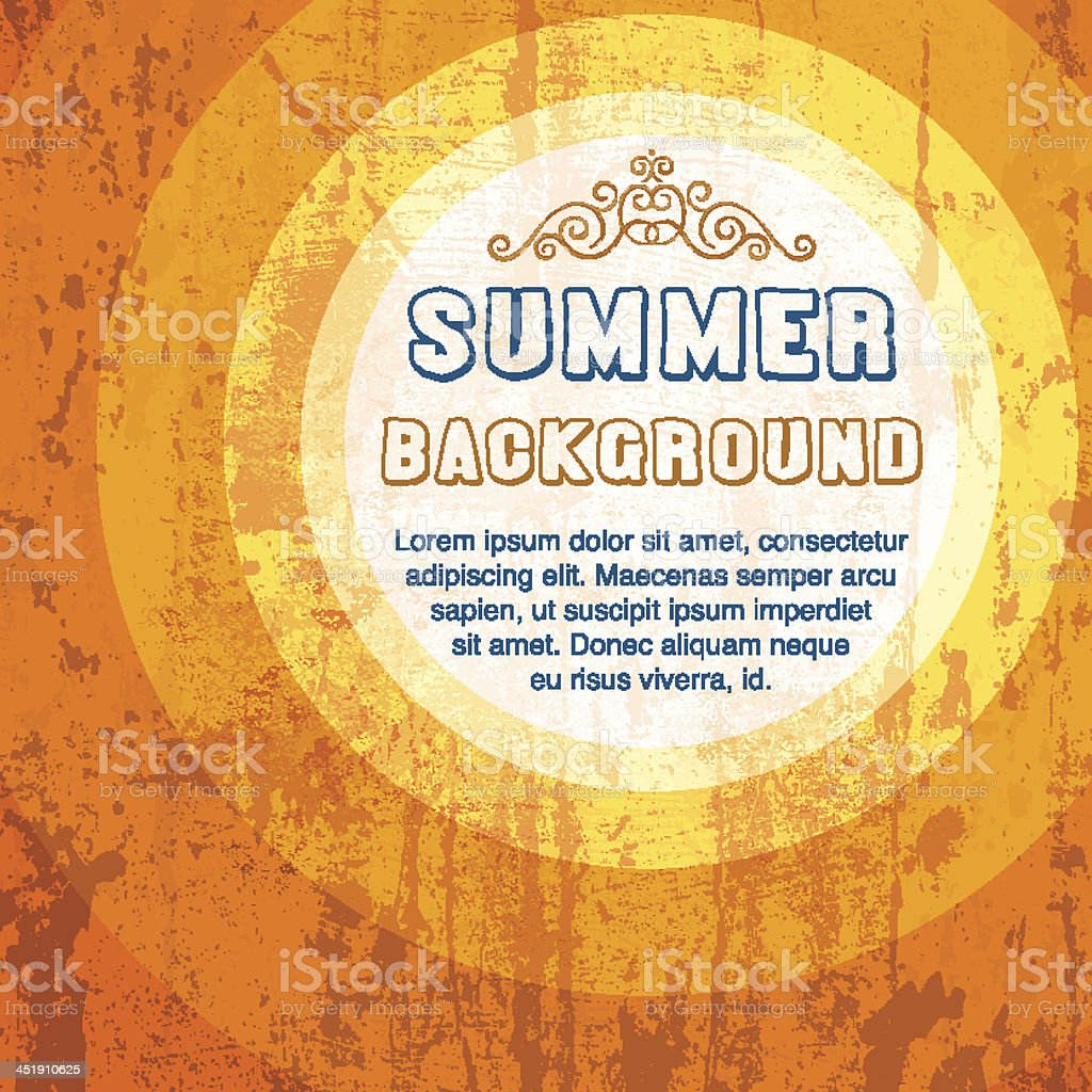 Grunge orange summer background template royalty-free stock vector art
