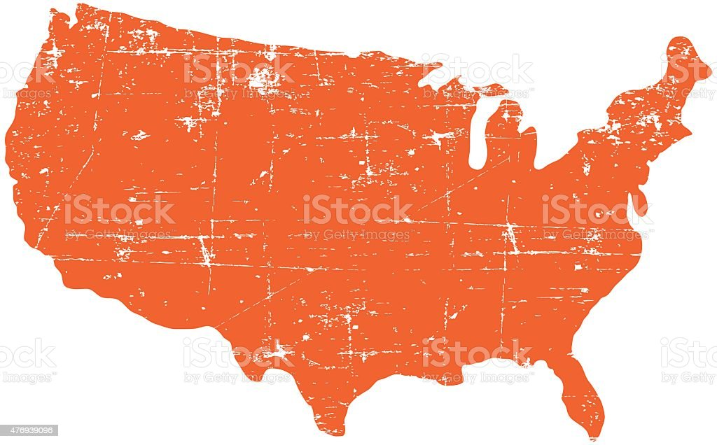 Grunge Orange Usa Map Stock Vector Art & More Images of 2015 ...